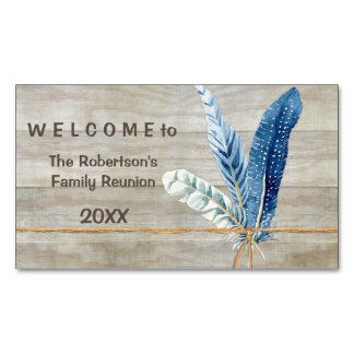 Family Reunion Wood Fence Board w Feather Magnetic Business Cards