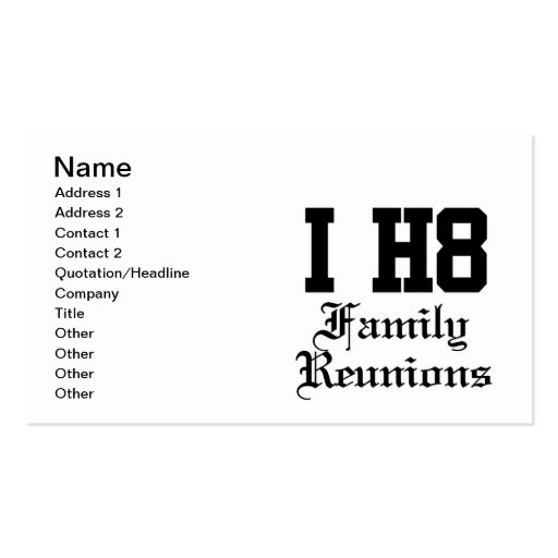 family reunions business card templates