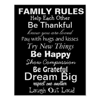 FAMILY RULES Inspiration for a happy family Print