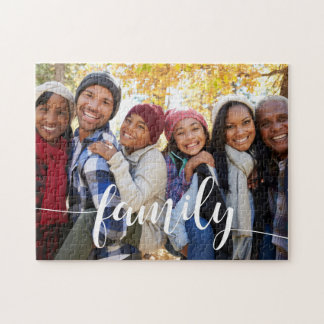 Family Script Overlay Photo Jigsaw Puzzle