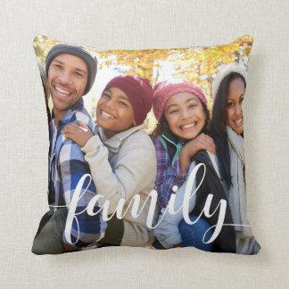 Family Script Overlay Photo Throw Pillow