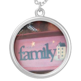 family sign round pendant necklace