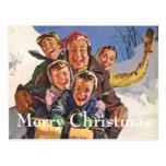 Family Sledding Postcard