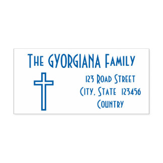 Family Surname + Address + Cross Rubber Stamp