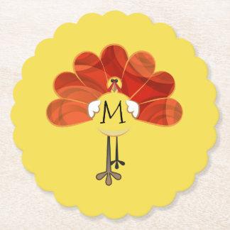 Family Thanksgiving Turkey Monogrammed Paper Coaster