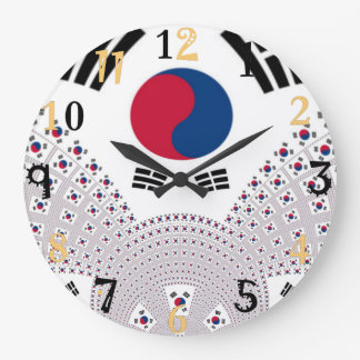 Family timeless Red and Blue Flag Large Clock