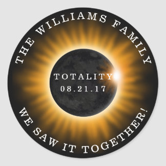 Family Totality Solar Eclipse Personalized Classic Round Sticker