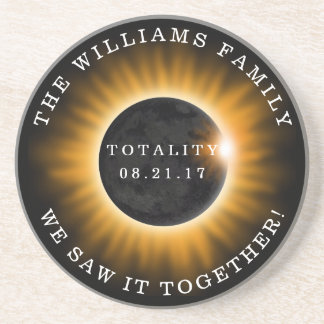 Family Totality Solar Eclipse Personalized Coaster