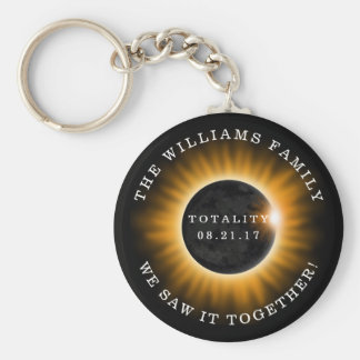 Family Totality Solar Eclipse Personalized Key Ring