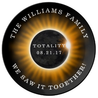 Family Totality Solar Eclipse Personalized Plate