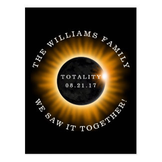 Family Totality Solar Eclipse Personalized Postcard