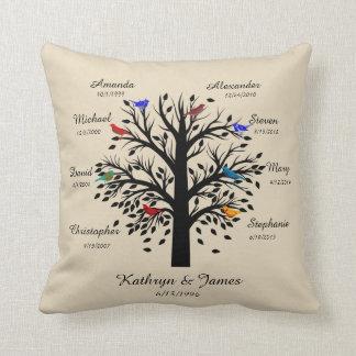 Family Tree, Black Tree on Ecru, 8 Names & Dates Throw Pillow