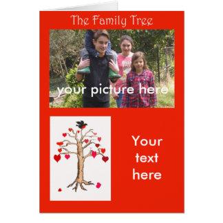 Family Tree custom card, with loveheart tree,bird. Card