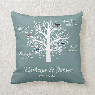 Family Tree, White Tree on Blue w/ Names & Dates Throw Pillow