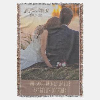 family wedding and couple throw blanket