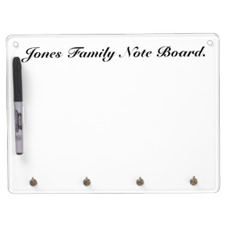 Family White Note Board with Key holder.