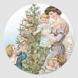 Family with Christmas Tree Classic Round Sticker