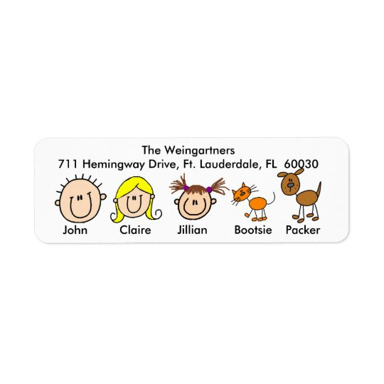 Family With Dog and Cat  Address Labels