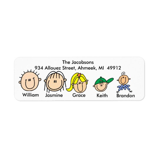 Family With Three Kids Address Labels