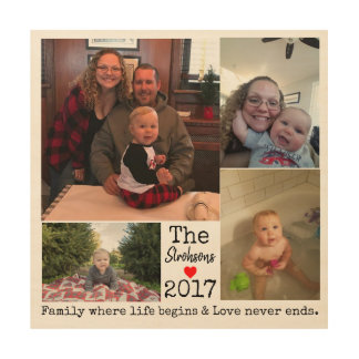 Family Year Photo Collage Wood Wall Decor