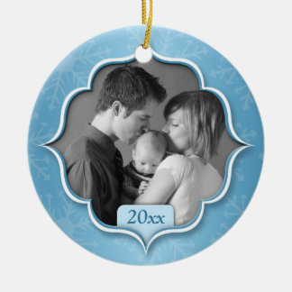 Family's 1st Christmas Blue Photo Ornament