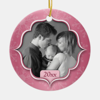Family's 1st Christmas Pink Photo Ornament
