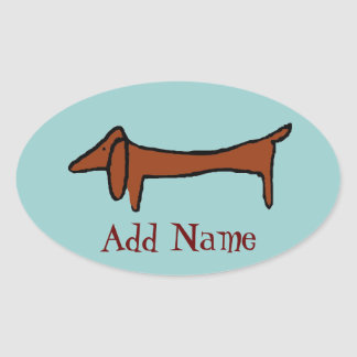 Famous Abstract Dachshund Oval Sticker