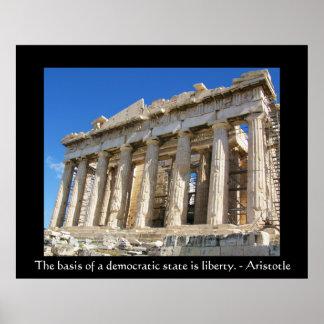 famous Aristotle QUOTE DEMOCRACY poster