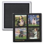 Famous Art Pug Composite #1 Square Magnet