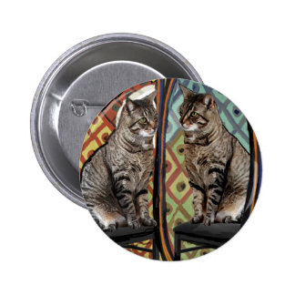 Famous Artists Cats Cat In A Mirror 6 Cm Round Badge