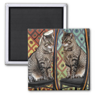 Famous Artists Cats Cat In A Mirror Square Magnet