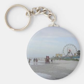 Famous Beach Basic Round Button Key Ring