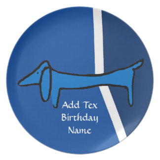Famous blue dachshund dog. Add text Plate