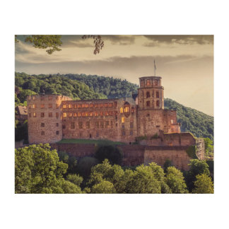 Famous castle ruins, Heidelberg, Germany Wood Wall Art