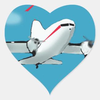 Famous Douglas DC3 aircraft Heart Stickers