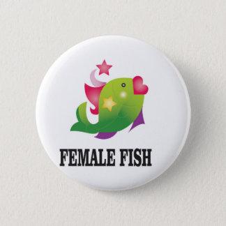 famous female fish 6 cm round badge