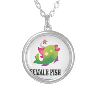 famous female fish silver plated necklace