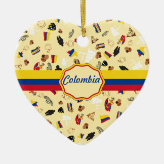 Famous Icons of Colombia with flag banner Ceramic Ornament