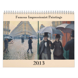Famous Impressionist Paintings ~ Changes to 2018 Calendar