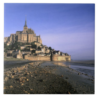 Famous Le Mont St. Michel Island Fortress in Large Square Tile