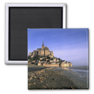 Famous Le Mont St. Michel Island Fortress in Square Magnet