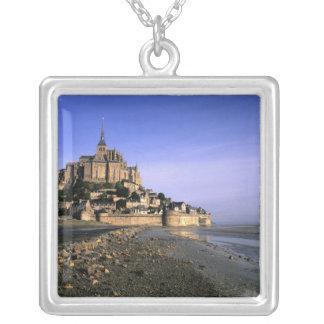 Famous Le Mont St. Michel Island Fortress in Square Pendant Necklace