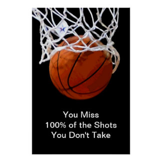 Famous Motivational Quote Basketball Poster