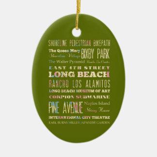 Famous Places of Long Beach, California. Ceramic Ornament