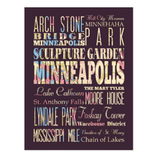 Famous Places of Minneapolis, Minnesota. Postcard