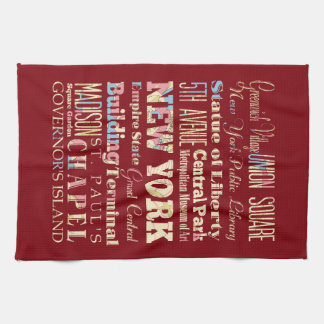 Famous Places of New York, United States. Kitchen Towel