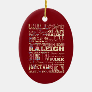 Famous Places of Raleigh, North Carolina. Ceramic Ornament