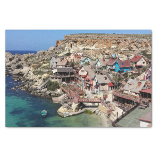 Famous Popeye village with colorful houses, Malta Tissue Paper