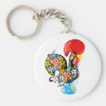 Famous Rooster of Barcelos Nr 06 - Floral edition Basic Round Button Key Ring