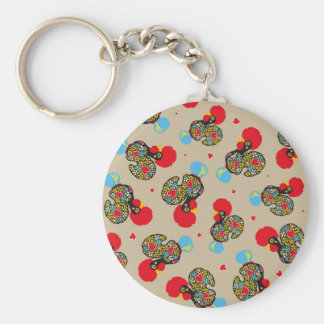 Famous Rooster of Barcelos Nr 06 Pattern Basic Round Button Key Ring